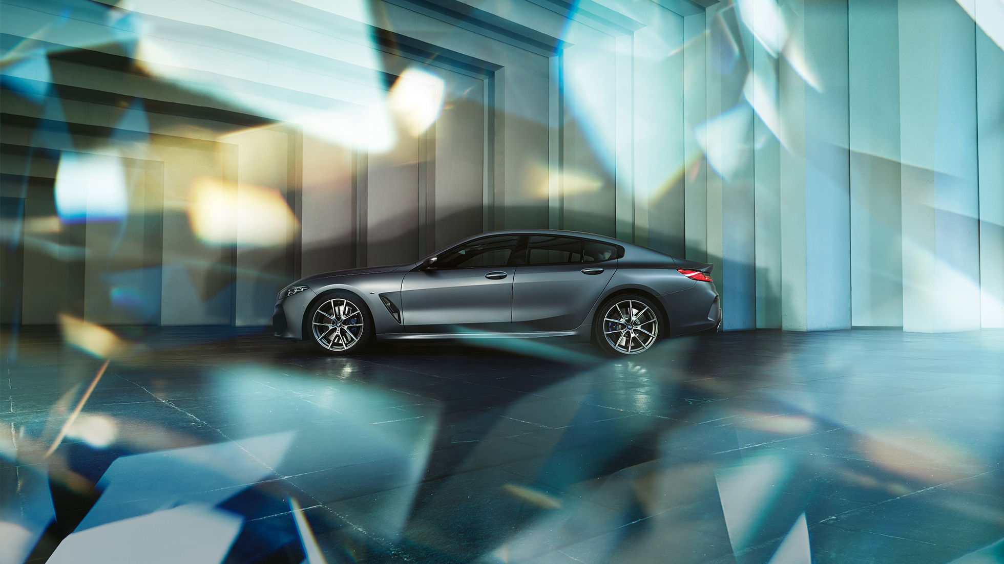 Coupé silhouette BMW M850i xDrive Gran Coupé G16 2019 BMW Individual Frozen Bluestone metallic side view